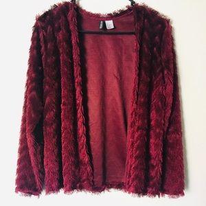 Red Fuzzy Cardigan